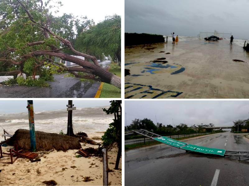 """(VIDEOS) """"Grace"""", se degrada a tormenta tropical al ingresar a Yucatán"""