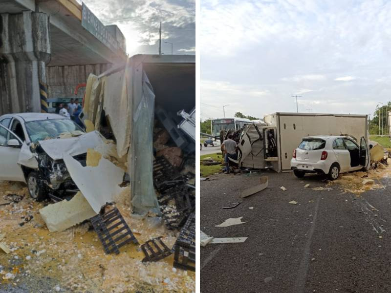 Accidente en el puente de salida al aeropuerto de Cancún; tres vehículos involucrados