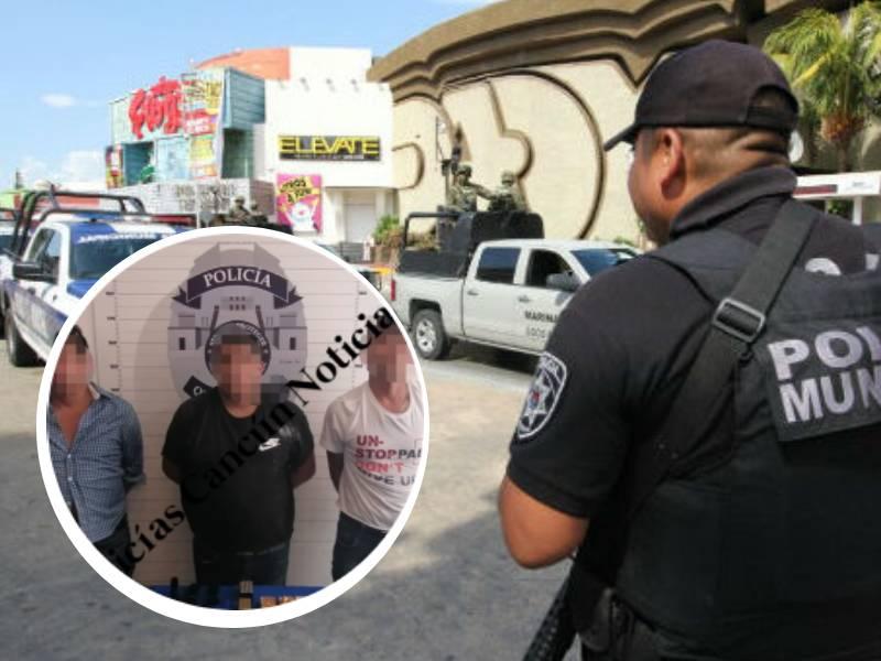 Detienen a tres personas en la Zona Hotelera de Cancún por portación de armas